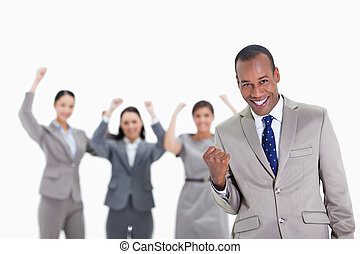 Successful business team with a man in the foreground -...