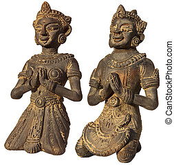 Two Sculptures of Burma Prayer on - Two small sculptures of...