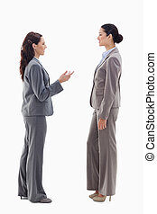 Two businesswomen talking face to face against white...