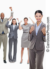 Close-up of a successful business team - Close-up of a happy...