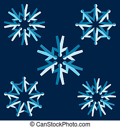 Set of origami people snowflakes