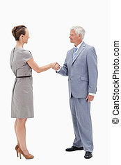 White hair businessman face to face and shaking hands with a...