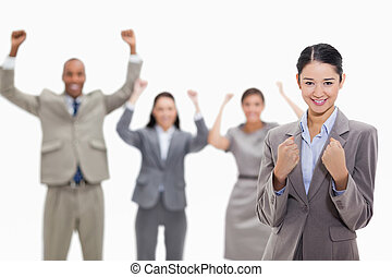 Successful business team - Close-up of a businesswoman...