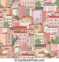 Seamless pattern with urban scene - Seamless pattern with...