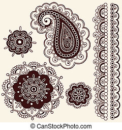 Henna Paisley Flower Doodles Vector - Hand-Drawn Abstract...