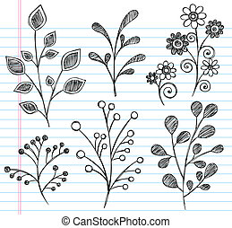 Flowers and Leaves Sketchy Doodle V - Flowers and Leaves...