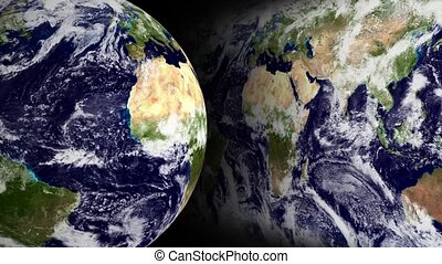 Blue_Marble_Globe_And_Map_Loop - Spinning earth globe and...