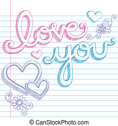 Love You Valentines Heart Doodles - Hand Drawn Valentine's...