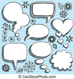 Speech Bubbles Sketchy Doodle SEt - Hand-Drawn Sketchy 3-D...