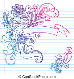 Scroll Banner Sketchy Doodle Vector - Hand-Drawn Scroll...