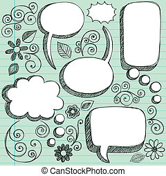 3D Sketchy Speech Bubbles Vector - Hand-Drawn Sketchy 3D...