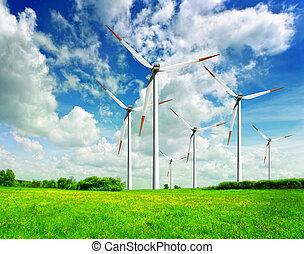 Power on blue sky