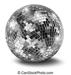 Silver disco mirror ball isolated on white background