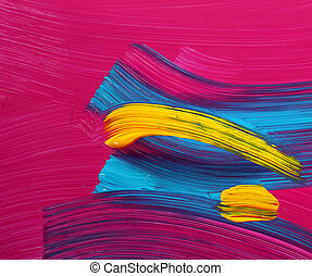 Bright colors paint strokes art - Cyan magenta yellow wet...