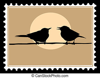 drawing two birds on branch