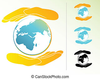 Earth Hands - Planet Earth Being Held by Two Hands
