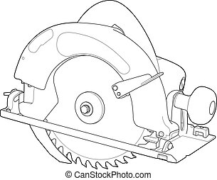 Circular Saw Outline - Detailed illustration of a...