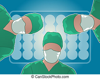 Operating Room Surgery - Three doctors looking over a...