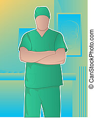 Cirujano, brazos, cruzado