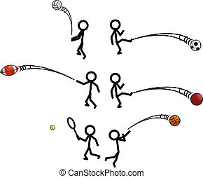 Stick Figure Sports - Hand draw stick figures in sporting...