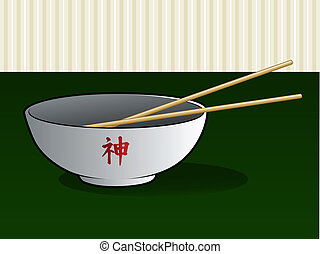 Asian Noodle Bowl with Chop Sticks - Chinese or Japanese...