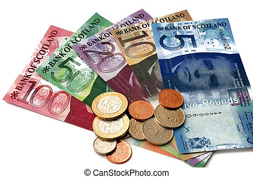 Scottish Banknotes - A scatter of Scottish banknotes and...