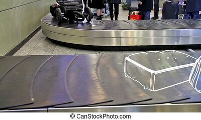 Lost luggage - On the conveyor belt is moving animated...