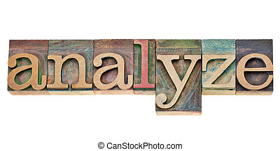 analyze - word in letterpress type - analyze - isolated word...
