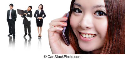 Young business woman speaking mobile phone with sweet smile...