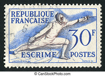 fencing - FRANCE - CIRCA 1953: stamp printed by France,...