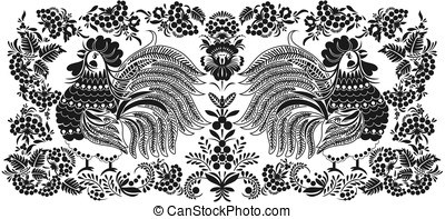 Roosters - Image of cocks in a folk style
