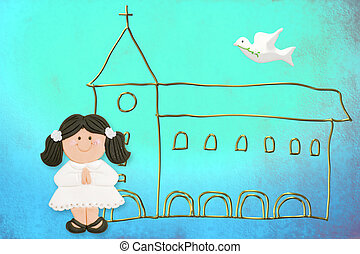 first communion card cute dark-haired doll, church and dove...