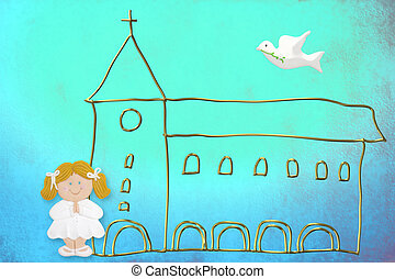 first communion card, cute blonde doll, church and dove on a...