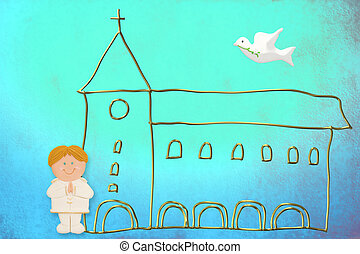 first communion card, cute blonde hair boy sailor suit -...