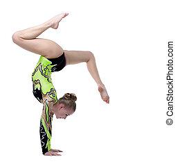 joven, profesional, gimnasta, estante, Escisiones