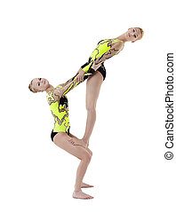 two young acrobats dance in free program