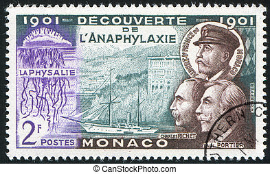 Laboratory Ship - MONACO - CIRCA 1953: stamp printed by...