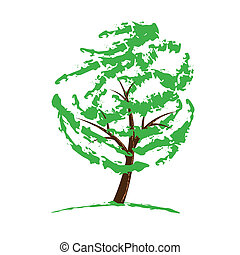 Green tree drawing isolated on white