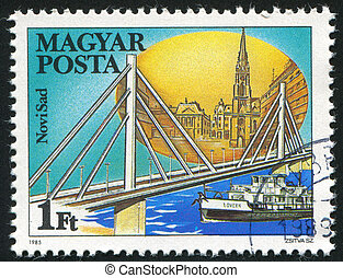 Novi Sad - HUNGARY - CIRCA 1985: stamp printed by Hungary,...