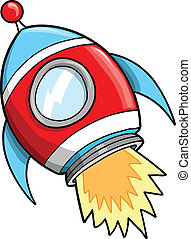 Cute Outer Space Rocket Vector Illustration