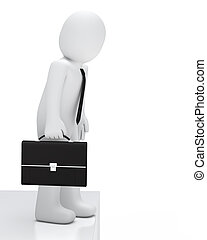 Businessman looking down - Businessman with briefcase look a...