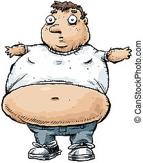 Tight Shirt - An obese man wearing a tshirt that is too...