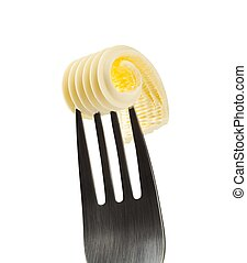 Butter curl on a fork