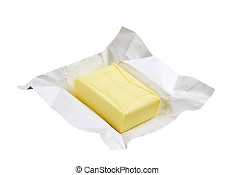 Fresh butter - Block of fresh butter - isolated on white