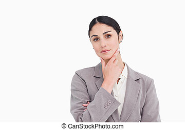 Young saleswoman in thinkers pose