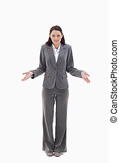 Businesswoman clueless against white background
