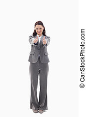 Businesswoman giving her agreement