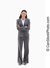 Businesswoman thinking against white background