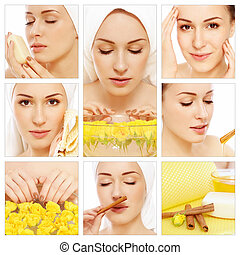 Hygiene and skin care - Collage with young beautiful happy...