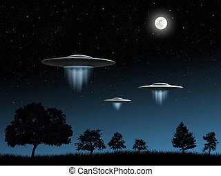 Flying saucers - 3d render of flying saucers ufo on night...